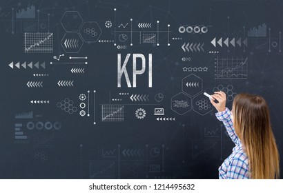 KPI with young woman writing on a blackboard