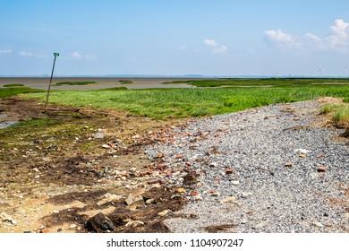 KRABBENDIJKE - THE NETHERLANDS - JUNE 3: Oosterschelde near Krabbendijke (Wheat Plate) on June 3, 2018