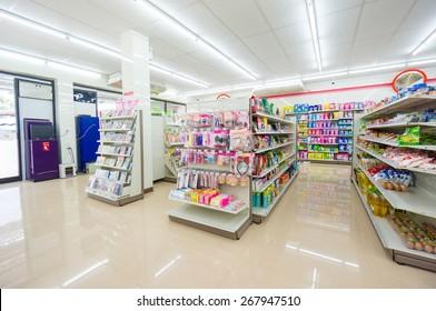 Krabi, 16 november 2014: 7-Eleven shop interior in Ao Nang district, Krabi province, Thailand.