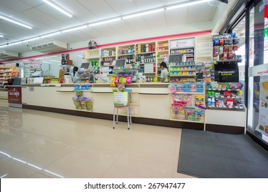 Krabi, 24 november 2014: 7-Eleven shop interior with cash desks in Ao Nang district, Krabi province, Thailand.