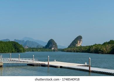 Krabi landmark (Kanaab Nam Cliff), Krabi Town, Thailand, The Khao Khanab Nam Mountains are known as one of Krabi's most famous landmarks