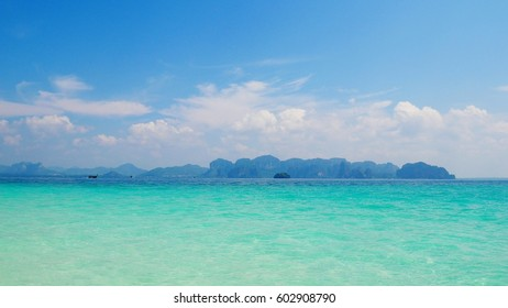 Krabi province in southern of Thailand beautiful sea  color shade of the sea summer