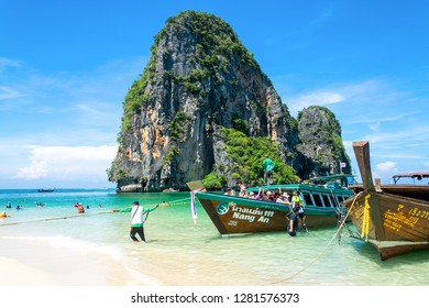 Krabi, Thailand - 13 May 2018 : Long tail boat is one of famous maritime transports between islands in Krabi, Thailand that tourists from many countries like and take it when they are there