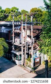 Krabi, Thailand - 26 December 2018 : Electroplating tower in Krabi Town