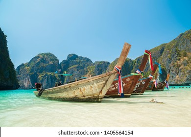 KRABI, THAILAND, 28 March 2016; Traditional tourist boats. Maya Bay in Ko Phi Phi Le Island, Krabi Province of Thailand. South East Asia