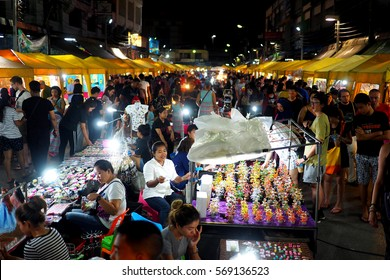 KRABI, THAILAND  - 31 January, 2017: The popular walking street night market is held every weekend in Krabi Town, Thailand. It is popular with locals and tourists alike.