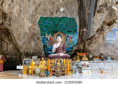 KRABI, THAILAND - APRIL 10: Buddha images in the Tiger Cave Temple on April 10, 2016 in Krabi, Thailand.