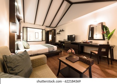 KRABI, THAILAND - APRIL 25 : Interior of a bedroom in a hotel at Krabi Thailand on April 25,2016.