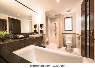 KRABI, THAILAND - APRIL 25 : Modern bathtub bathroom interior in hotel at Krabi Thailand on April 25,2016.