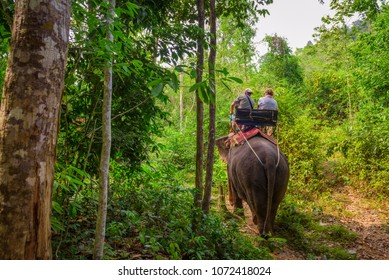 Krabi, Thailand - April 5, 2018 : Tourists riding an elephant in the jungle of Krabi, Thailand