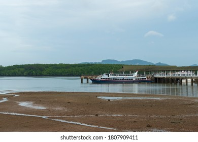KRABI, THAILAND - AUGUST 16, 2016: The boat docked at port in Krabi.