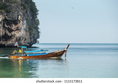 KRABI, THAILAND - CIRCA MAR 2013: Krabi province in Thailand. Traditional Thai boat is equipped for the transportation of tourists