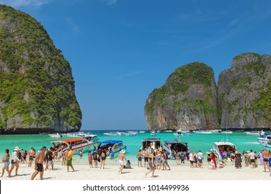Krabi, Thailand - December 15 2017: Famous Maya Bay at Ko Phi Phi Le Island, part of the Phi Phi Islands, crowded with tourists comming with boats