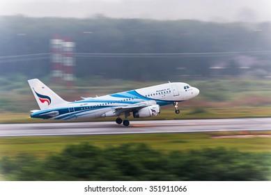 Krabi, Thailand - December 16,2015 : Bangkok airways plane take off from Krabi airport in the morning in motion blur