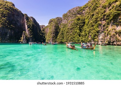 Krabi, Thailand - December, 2020: Beautiful turquoise ocean of Pileh Lagoon is a very beautiful place and one of the popular tourist attractions in Phi Phi Le island in Krabi, Thailand.