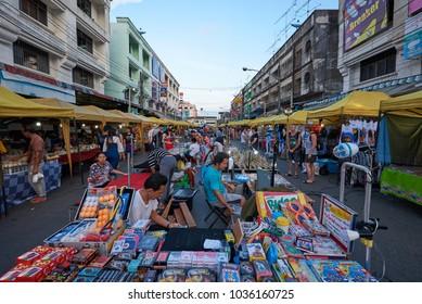 KRABI, THAILAND - JAN 28, 2018: The Krabi Town walking street