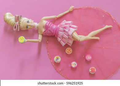 KRABI, THAILAND - JANUARY 16: Barbie doll on pink background on January 16, 2017 in Krabi, Thailand.