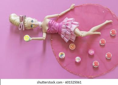 KRABI, THAILAND - JANUARY 16: Barbie doll on pink background on January 16, 2017 in Krabi, Thailand.