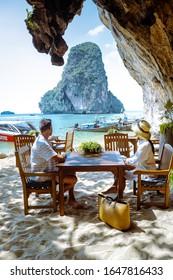 Krabi Thailand January 2020, Restaurant the Grotto on Railay beach with a beautiful backdrop of Ko Rang Nok Island In Thailand Krabi