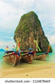 KRABI, THAILAND - January 6, 2015: Thai longtail boats.