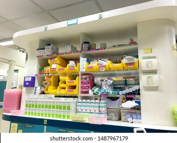 Krabi ,Thailand - July 16th, 2018 : Modern design of medication cupboard (Medcical cabinet) in Inpatient pharmacy service (IPD unit) for storing sterile product which is injectable drug on shelves