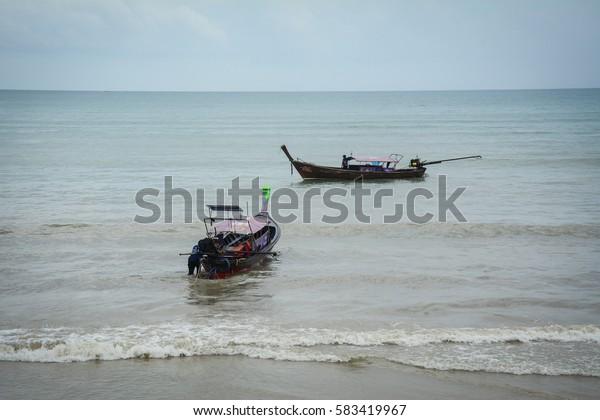 Krabi, Thailand - Jun 21, 2016. Seascape in Krabi, southern Thailand. Krabi is the main town in the province of Krabi on the west coast of southern Thailand.