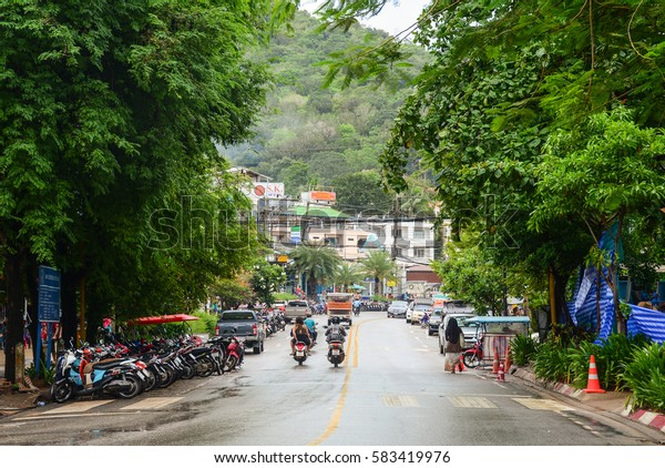 Krabi, Thailand - Jun 21, 2016. Traffic on street in Krabi, Thailand. Krabi is the main town in the province of Krabi on the west coast of southern Thailand.