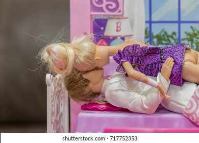 KRABI, THAILAND - MARCH 8: Romantic barbies making love in bedroom of the doll house on March 8, 2017 in Krabi, Thailand.