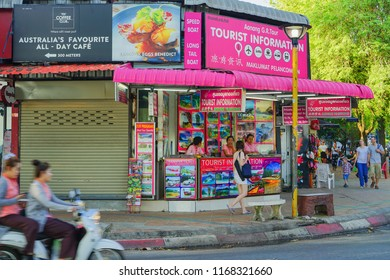 Krabi, Thailand - May 15th 2018: Tourist visiting Tourist Information in Ao nang beach.
