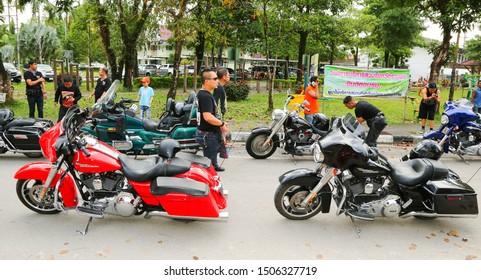 Krabi, Thailand - Nov 2013: Krabi Bike Show Motorcycle Parade. Harley Davidson, Honda, Suzuki, Yamaha and Kawasaki Motorcycle Street Procession, Thailand. Powerful choppers and fast road bikes