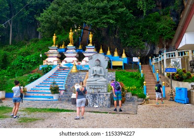 Krabi, Thailand, October 23, 2014: Departure point of the 1237 steps to the top of the Wat Tham Sua.