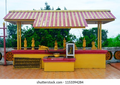 Krabi, Thailand, October 23, 2014: Altar with Buddha figurines at the top of the wat Tham Sua.