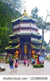 Krabi, Thailand, October 23, 2014: Pagoda in the enclosure of the wat Tham Sua.