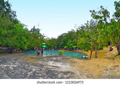 Krabi, Thailand - October 23, 2014: Wide angle view of Sa Morakot, also known as Emerald Pool.