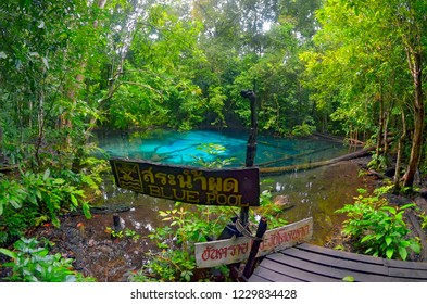 Krabi, Thailand - October 23, 2014: Blue Pool with its information sign in the Sa Morakot area, in the Khao Nor Chuchi forest.