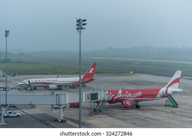Krabi , Thailand ; October 5,2015. Krabi airport late in morning effect from Haze caused by forest fires in indonesia