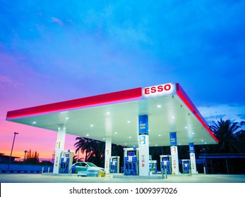 Krabi, Thailand - September 1, 2017: ESSO gas station. Esso gas stations and products including gasoline, diesel, motor oil, gift cards, credit cards and more