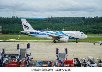 KRABI, THAILAND-JUNE 30 ,2018 : Aircraft of Bangkok Airways at the Krabi International Airport in Thailand Waiting for passengers to travel.