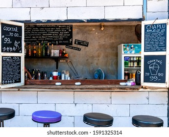 Krabi Town, Thailand - November 24 2019: A To Go Bar at the side of the walkway operated by a local in Krabi Town.