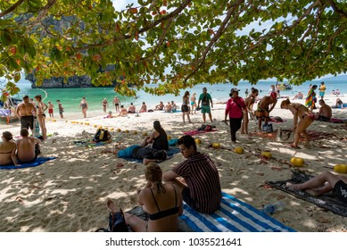 KRABI,THAILAND - JANUARY 20: Rai Lay beach on January 20,2018 in Krabi, Thailand. A ton of traveler are relaxing on Rai Lay beach that is one of the most beautiful beach in Thailand.