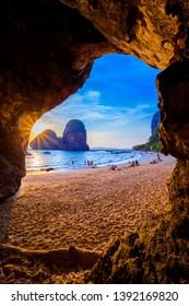 KRABI,THAILAND - MAY8, 2018 : Phra nang cave beach. The beach is a famous travel destination in Krabi,Thailand.
