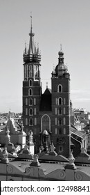KRACOW POLAND 09 19 17: Church of Our Lady Assumed into Heaven also known as Saint Mary's Church is a Brick Gothic church adjacent to the Main Market Square in Krakow, Poland.