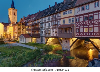 The Kraemerbruecke with its historic houses in Erfurt, Germany, at dusk