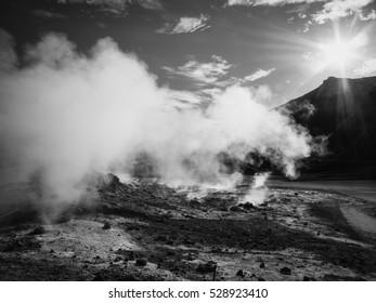 Krafla geothermal area of Hverir, Namafjall in northern Iceland - black and white
