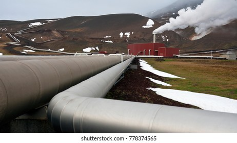 Krafla geothermal Power Station in Iceland. Located close to the Krafla Volcano and to lake Myvatn. It is Iceland's largest power station with 33 boreholes.