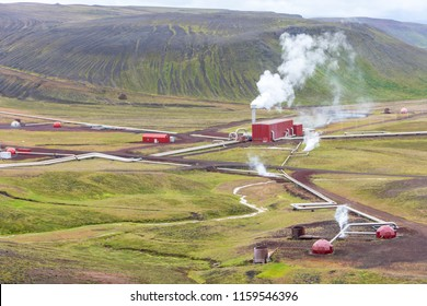 Krafla Geothermal Power station in North Iceland, where water superheated by magma is used to generate electrical power