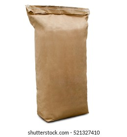 kraft bag or sack side view. isolated on white background. space for text