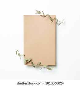 Kraft brown memo pad, empty paper with eucalyptus leaves on white background. top view, copy space