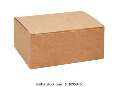 Kraft cardboard box isolated on white background