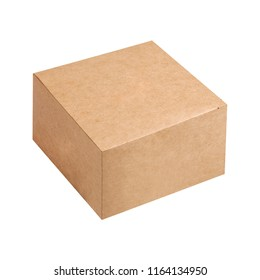 Kraft cardboard box isolated on white background. Box mockup design.